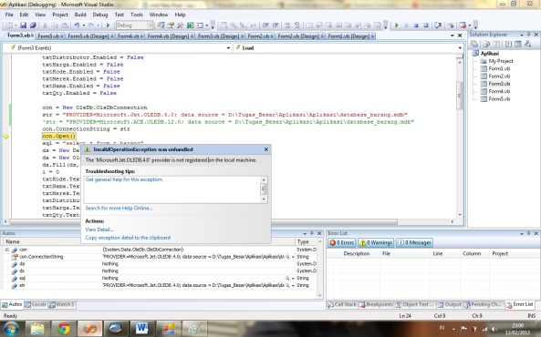 Klik untuk Detail! Microsoft.Jet.OLEDB.4.0 provider is not registered on the local machine
