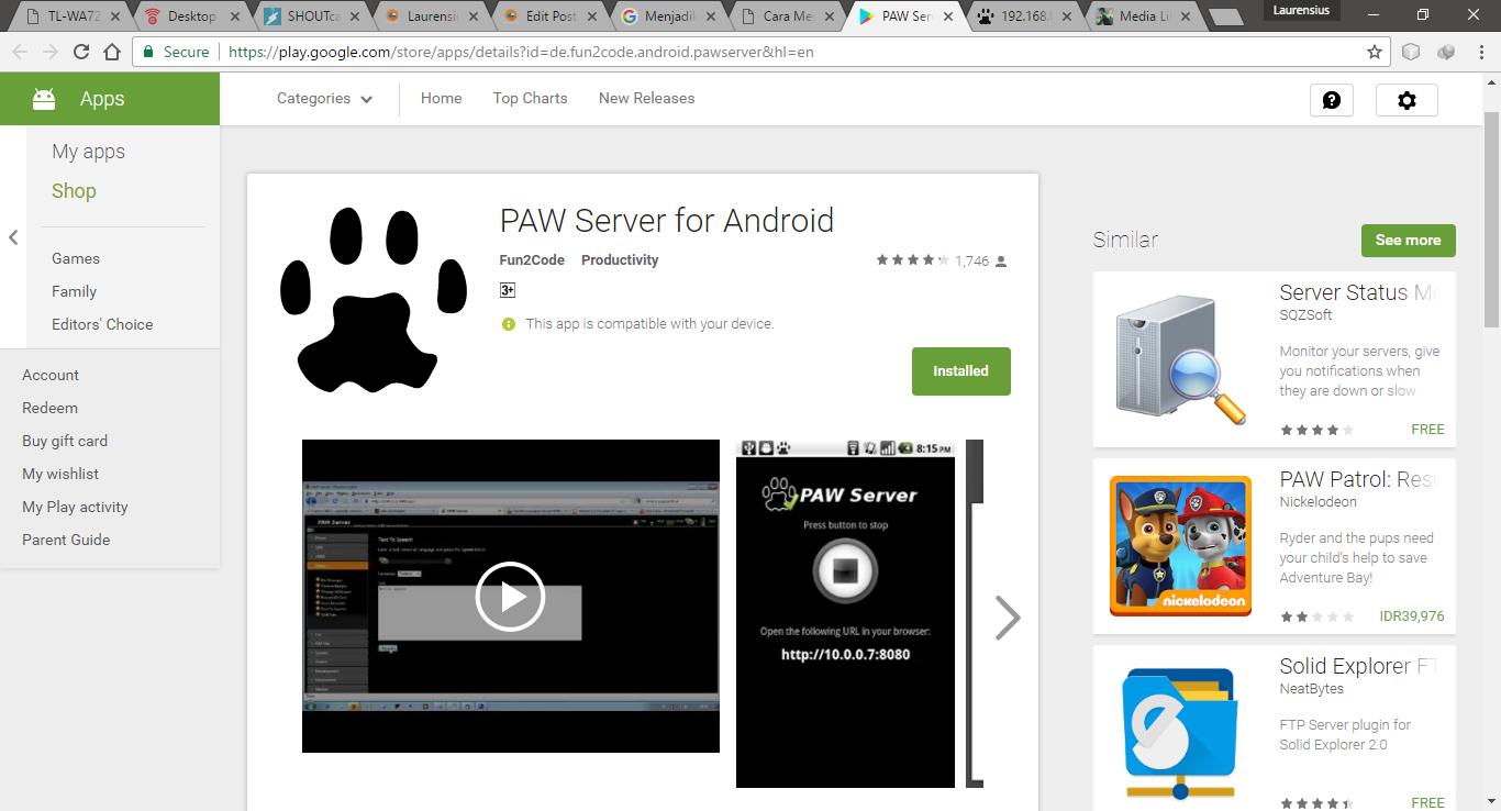 Menjadikan HP Android sebagai Local Web Server dengan PAW Server