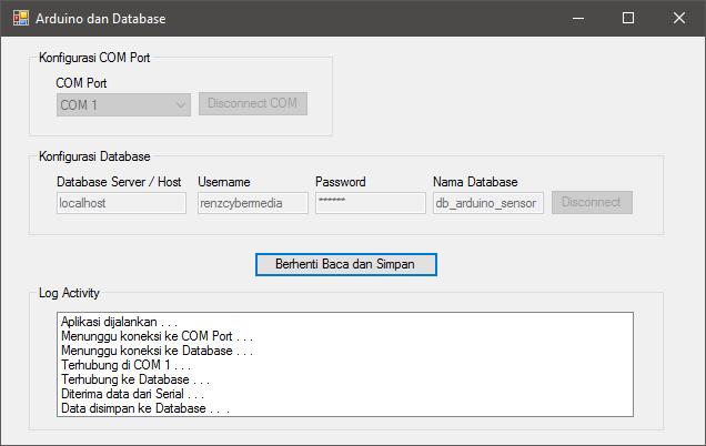 Koneksi Arduino dan Database